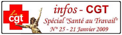 """Infos CGT - Spécial """"Santé au Travail"""" - 21/01/2009"""