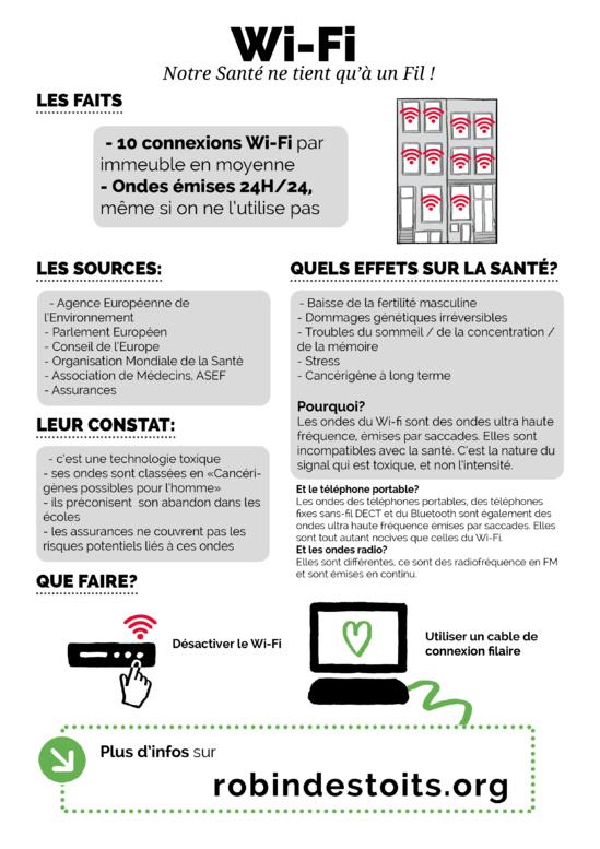 Wi-FI / Bluetooth / DECT : pourquoi c'est dangereux ? - désactiver le Wi-fi et informer vos voisins par une affichette