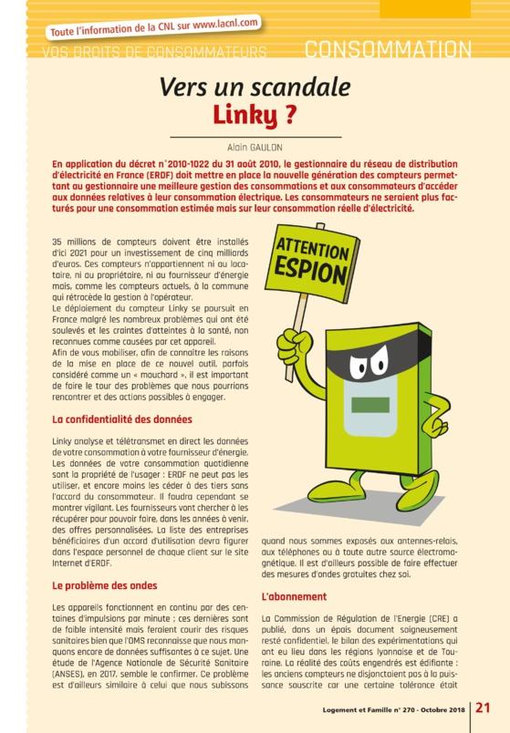 Vers un scandale Linky ? La CNL - Logement et Famille n° 270 - Octobre 2018