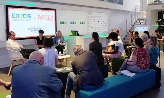 Présentation du partenariat avec Paris&Co dans les locaux du show-room parisien d'Enedis. © JGP