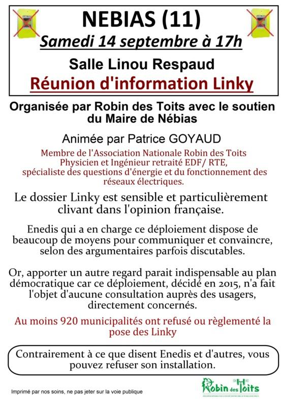 LINKY - NEBIAS (11) : Réunion d'information samedi 14 septembre 2019 à 17h00