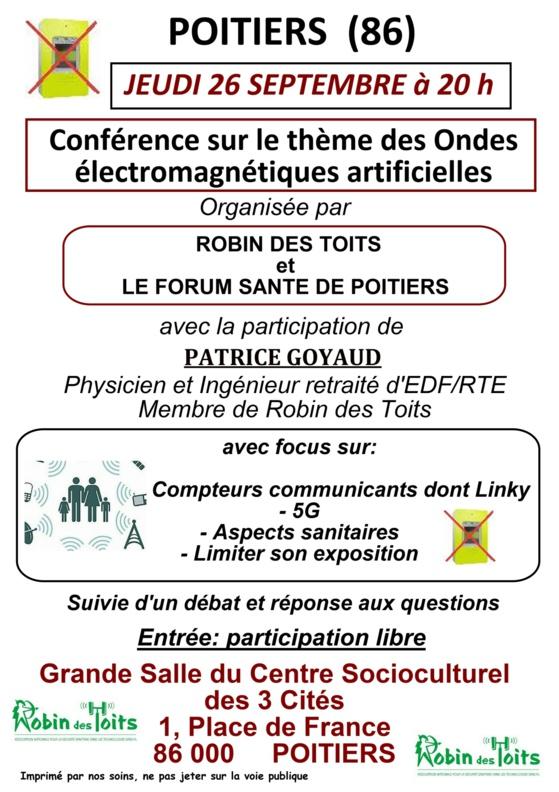 Poitiers - Jeudi 26 septembre 2019 à 20h00 : Conférence sur les ondes électromagnétiques artificielles, suivie d'un débat