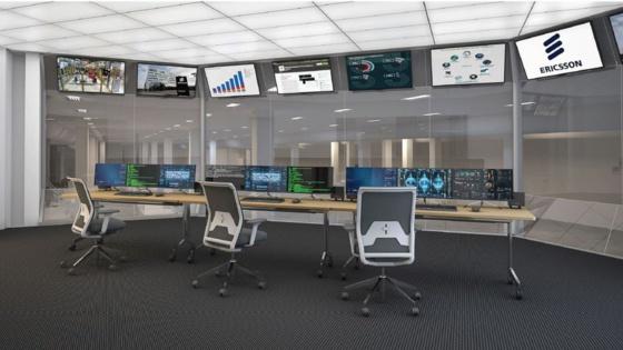 Vue d'artiste de la salle de contrôle de la future usine 5G d'Ericsson qui doit ouvrir l'an prochain à Lewisville. DR
