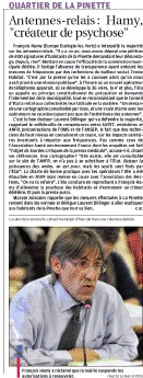 Aix en Provence - Antennes-relais : Hamy, « créateur de psychose » – La Provence – 11/04/2012