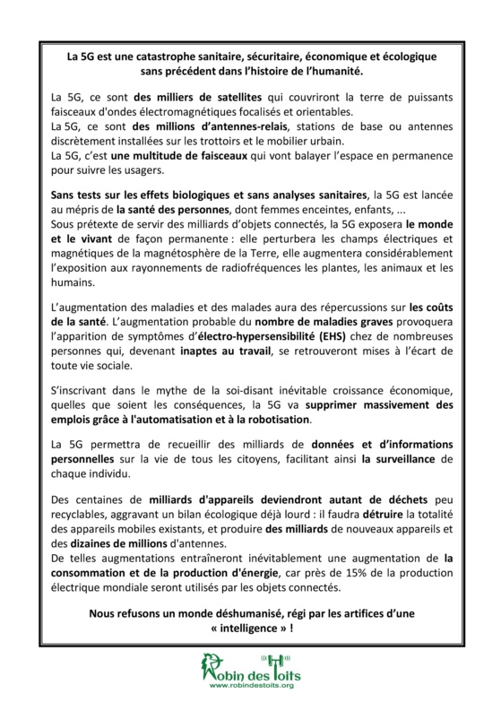 25 janvier 2020 : JOURNEE MONDIALE DE PROTESTATION CONTRE LA 5G A PARIS