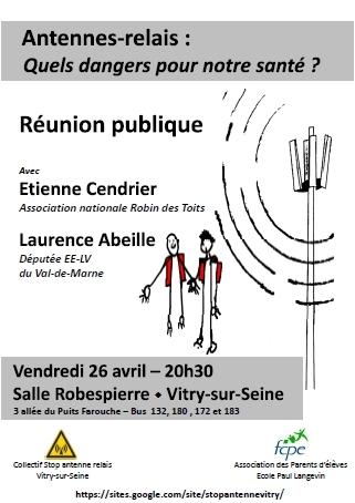 """Réunion publique : """"Antennes-relais : quels dangers pour notre santé ?"""" - 26/04/2013"""