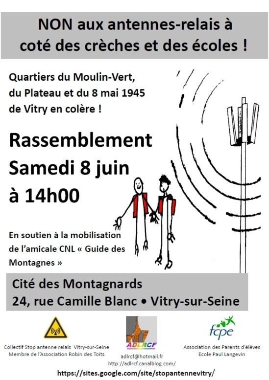 """""""Collectif Stop Antenne relais de Vitry-sur-Seine"""" - Pétition et Communiqué de Presse FCPE - 04/06/2013"""