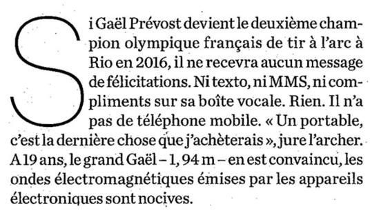 """Coupe du monde : """"L'archer archi déconnecté"""" - Le Parisien Magazine - 20/09/2013"""