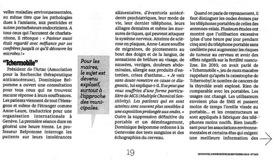 """""""Ondes, les vrais dangers"""" - Le Nouvel Observateur - Septembre 2013"""