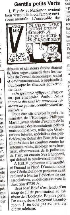 """Gentils petits Verts"" - Le Canard Enchaîné - 18/09/2013"
