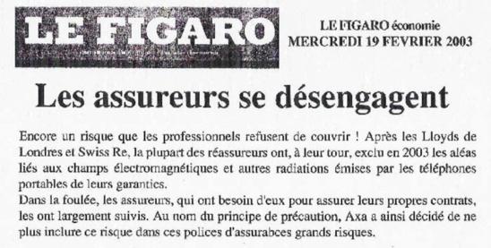 Les assureurs n'assurent plus 'les dommages de toute nature causés par les champs et ondes électromagnétiques' - 19/02/2003
