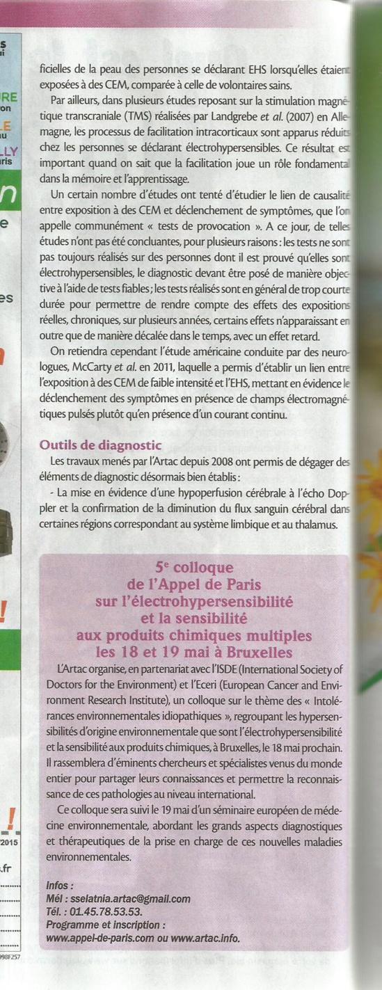 'L'électrohypersensibilité : vers une nouvelle médecine environnementale ?' - Biocontact - mai 2015