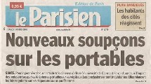UNE du Parisien 09/02/2008 - SANTE : 'Nouveaux soupçons sur les portables'
