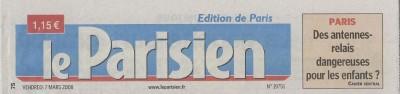 'Des antennes relais dangereuses pour les enfants ?' - Le Parisien (Cahier Central) du 07/03/2008