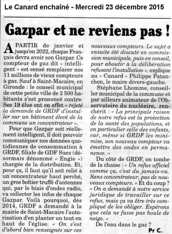 'Gazpar et ne reviens pas' - Le Canard Enchaîné - 23/12/2015