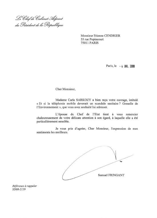 Réponse du cabinet du Président de la République à l'envoi du livre d'Etienne Cendrier - 06/07/2008