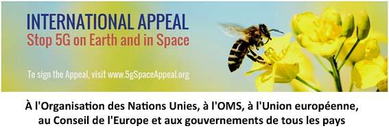 APPEL INTERNATIONAL demandant l'arrêt du déploiement de la 5G sur terre et dans l'espace.