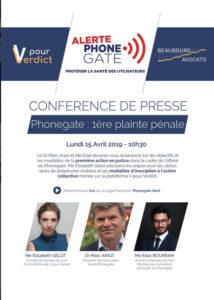 Conférence de Presse lundi 15 avril 2019 - Phonegate : 1ère action pénale - phonegatealert.org - 12/04/2019
