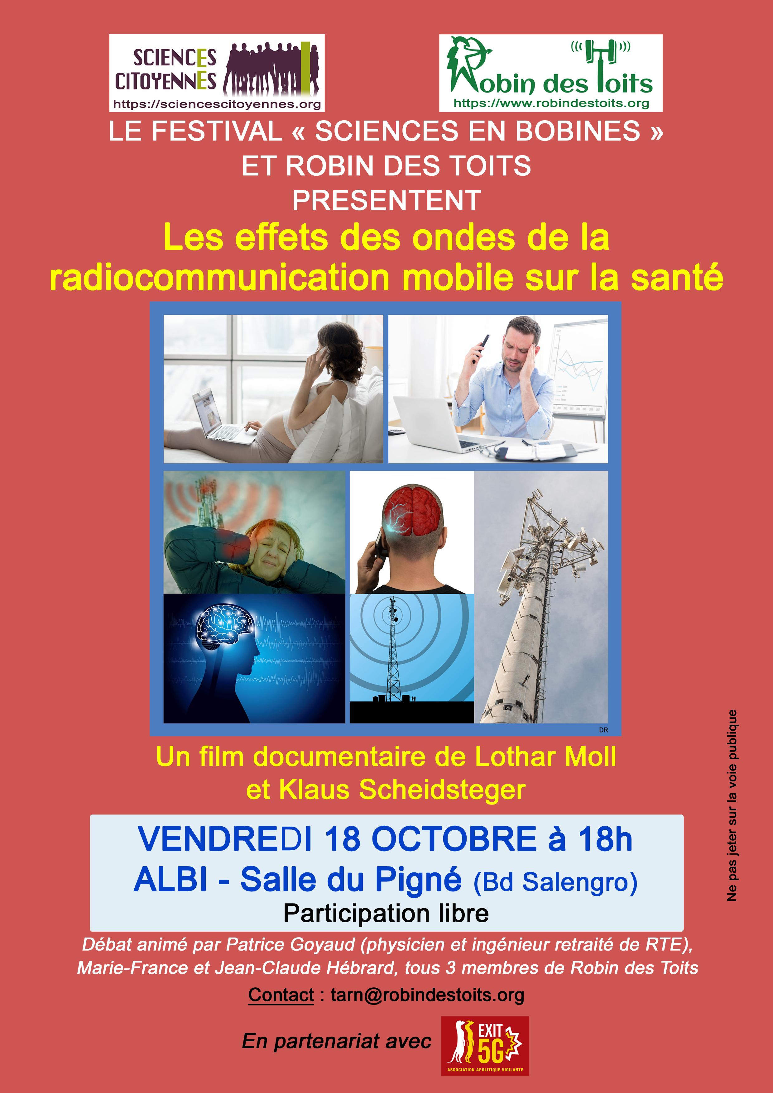 """18/10 à ALBI : projection-débat - Le festival """"Sciences en Bobines"""" et Robin des Toits présentent..."""