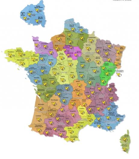 """Recensement des personnes électro-hypersensiblessur la France Métropolitaine Carte réalisée par """"Une terre pour EHS"""" © Une terre pour EHS"""