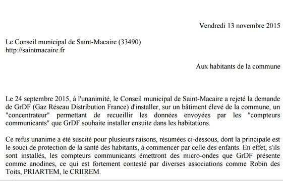 Le courrier adressé par le conseil municipal aux habitants de Saint-Macaire. - DR